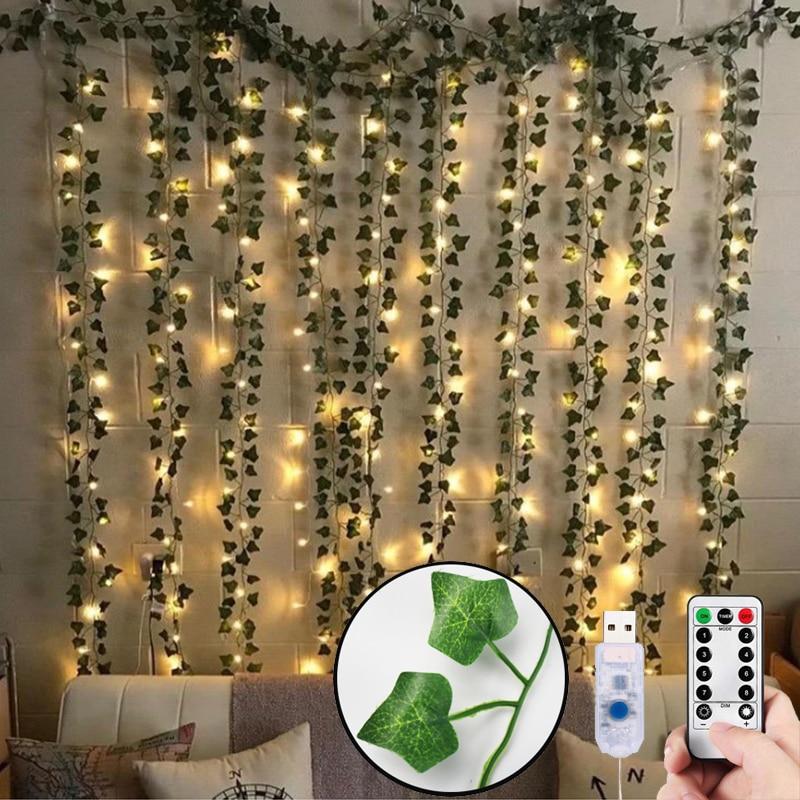 12pcs-Artificial-Plants-LED-Ivy-Garland-Fake-Leaf-Vines-Room-Decor-Hanging-For-Home-Wedding-Living